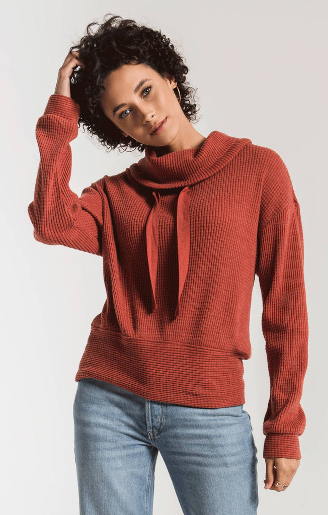 Cowl Neck Waffle Thermal- Mesa Red