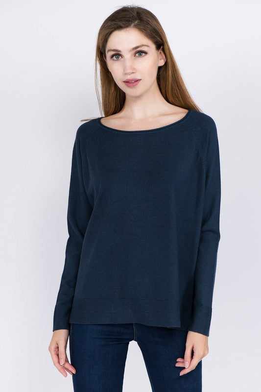 Dark Teal Basic Lightweight Sweater