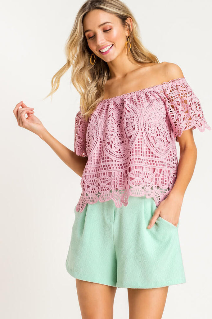 Pink Lace OTS Top