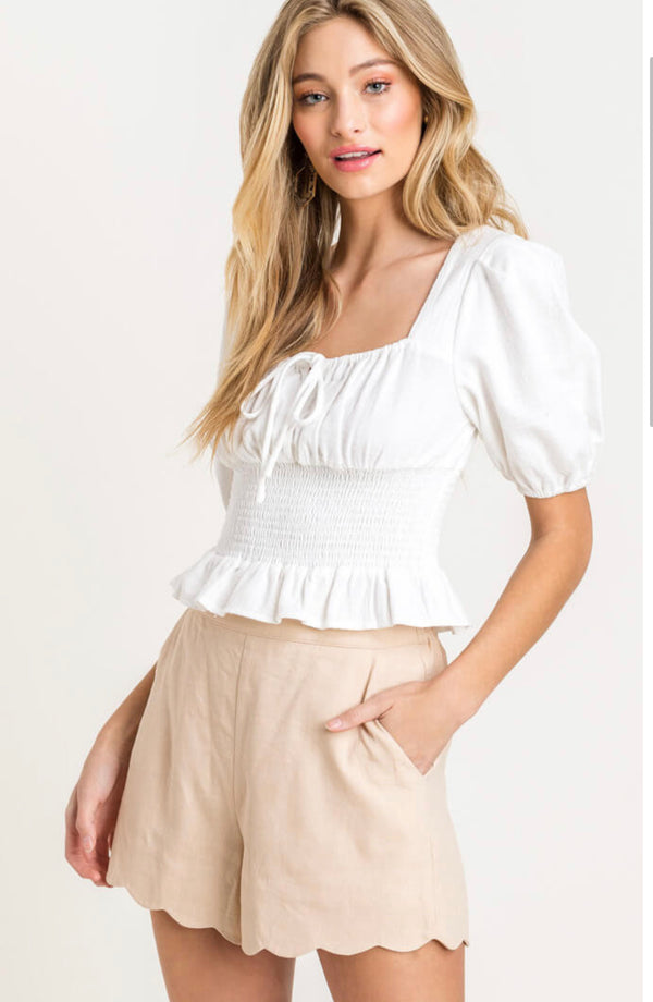 White Smocked Waist Top