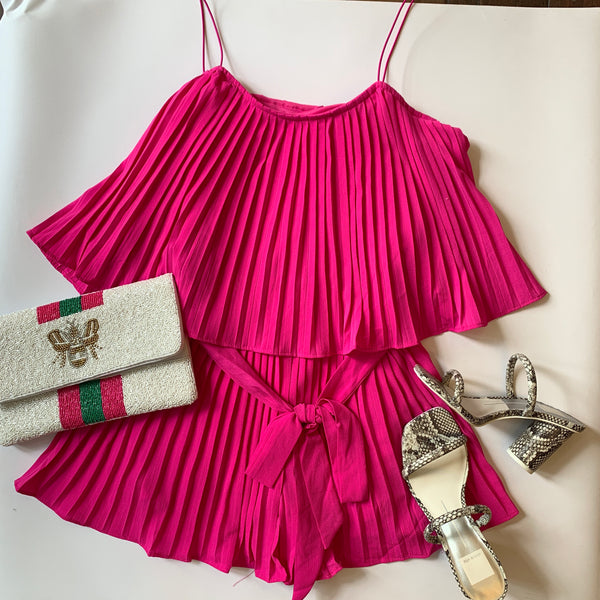 Magenta Pink Pleated Romper