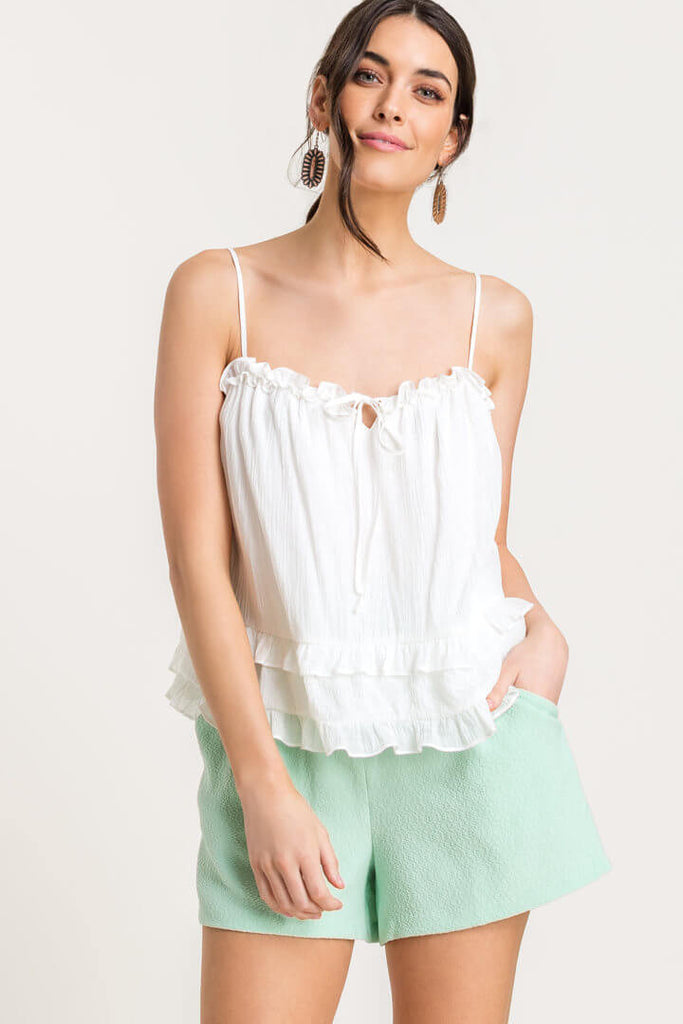 Frill Tier Tank Top - White