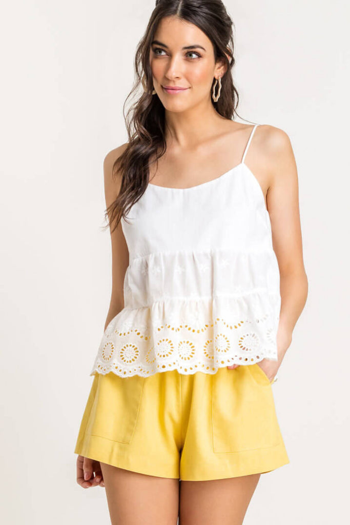 Tiered Eyelet White Cami