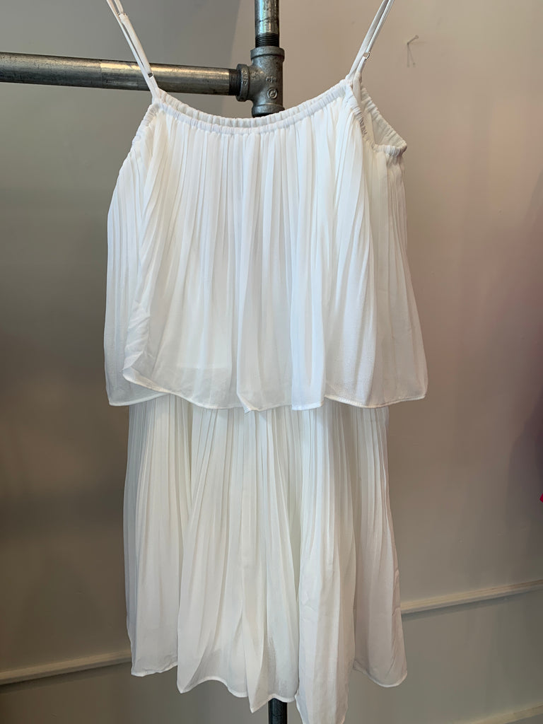 Pleated White Romper