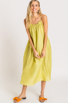 Lime Cami Tie Back Midi Dress