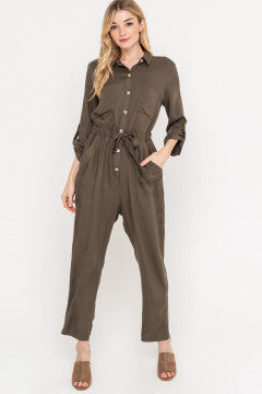 Olive Utility Button Down Jumpsuit