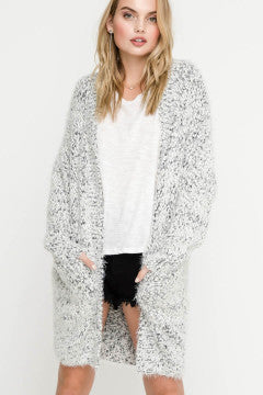 Two Tone Fuzzy Grey Cardigan