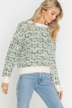 Green Weave Sweater