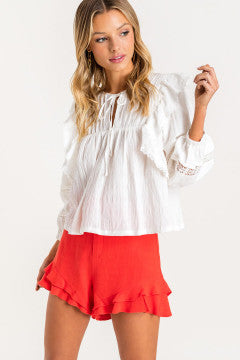 Ruffle Peasant Top - Off White