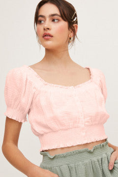 Light Pink Front Button Top