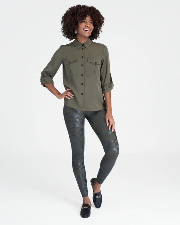 green leather camo spanx