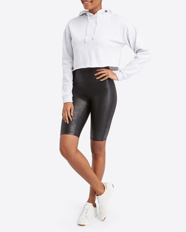 SPANX- Faux Leather Black Bike Short