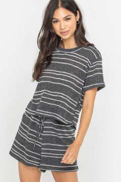 Charcoal and Ivory  Stripe Knit Top