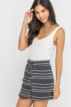 Charcoal and Ivory Stripe Knit Short