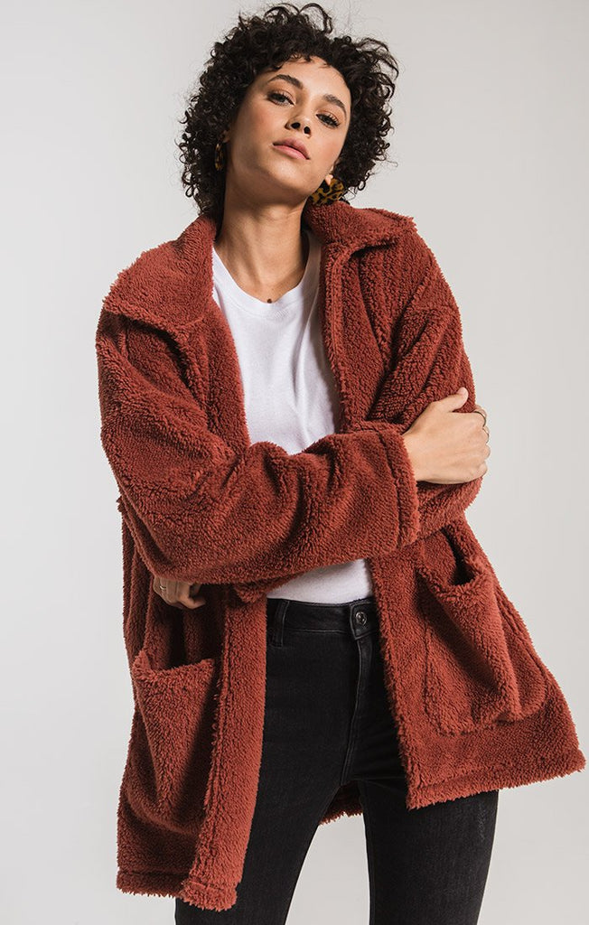 red sherpa coat
