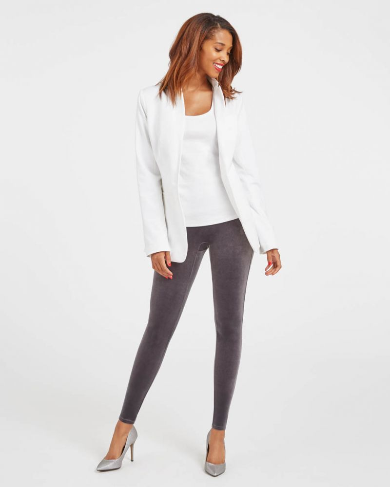 Spanx Silver Chrome Velvet Leggings