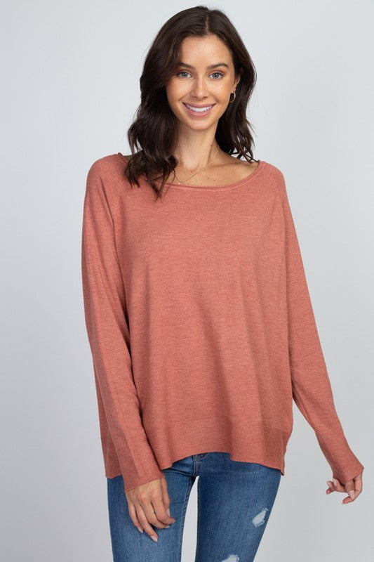 Heather Spice Basic Lightweight Sweater
