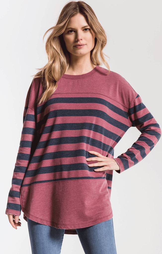 Modern Stripe Long Sleeve Top- Berry/Iris