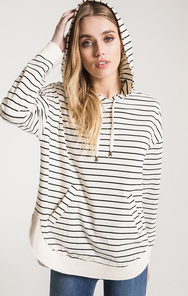 Z Supply Dakota Stripe Pullover - Pearl/ Black
