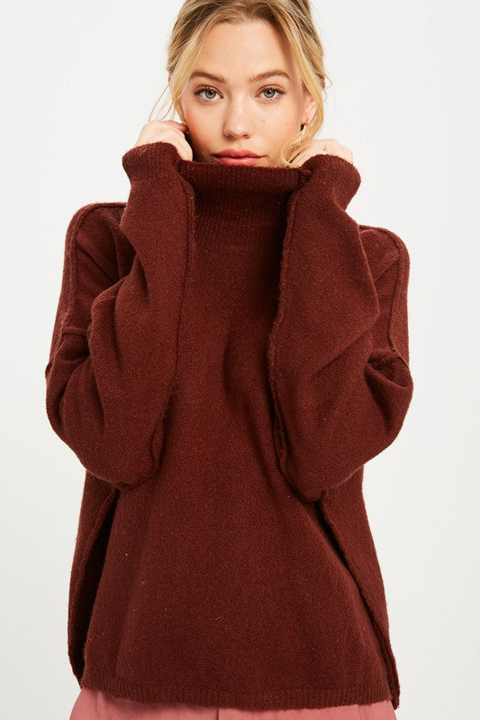 Wine Turtleneck Sweater