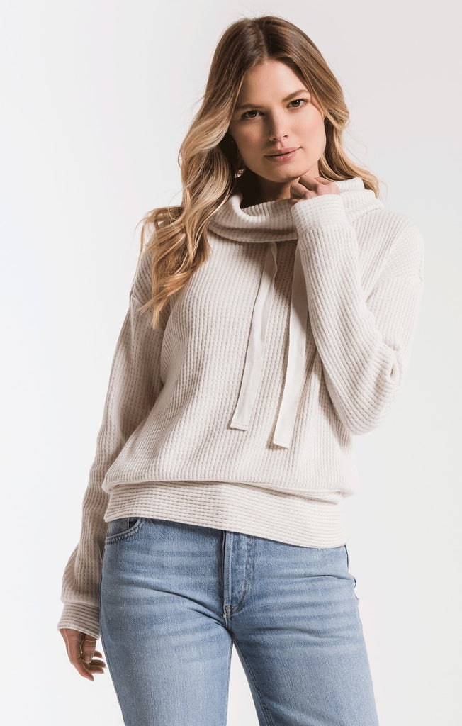 cream waffle knit top