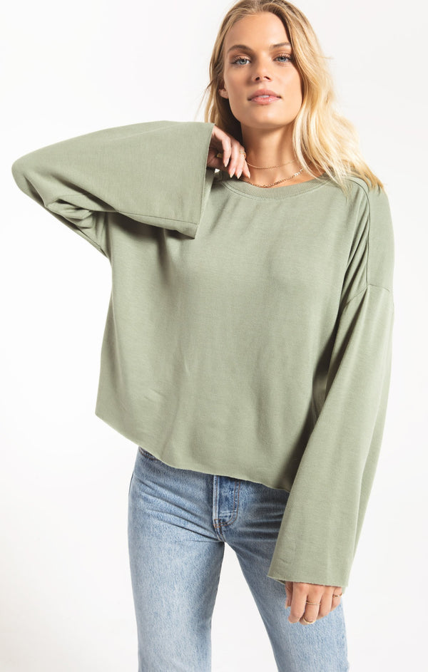 Premium Fleece Flare Sleeve Top - Agave Green
