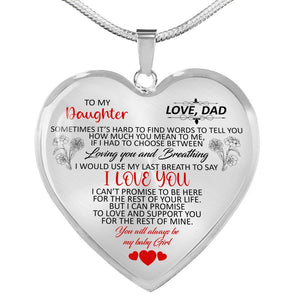 To My Daughter Pendants Necklaces - Father & Daughter Necklace - Gift From Dad - Luxury Silver Necklace For Birthday, Anniversary - Including Gift Box - Vnamus