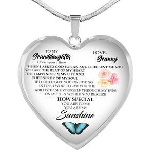 Granddaughter Necklace Heart Pendant Gift From Grandmother Grandma Nana Gammy Imprinted Inspirational Quote Birthday Christmas - Vnamus