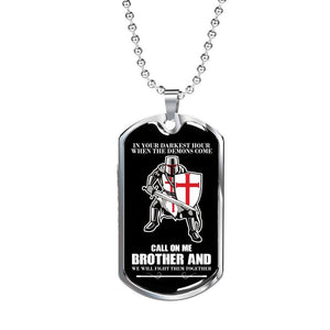 Luxury Military Call On Me Brother Necklace Knight Templar Veteran Brother Gifts - Vnamus