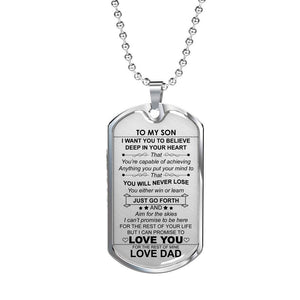 My To Son I Want You to Believe Love Air Force Dog Disc Navy Ball Necklace Gift White Best Birthday Graduation Stainless Steel - Vnamus