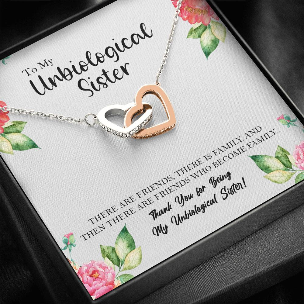 Unbiological Sister Interlocking Hearts Necklace, Best Friend Necklace, SoulSister Gift, Bridesmaid Gift, BFF Gift, Unbiological Sister Gift