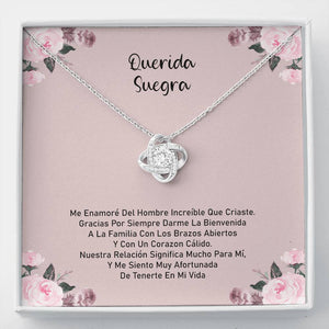 Gift for mother-in-law, knot necklace, jewel with message on card. Gift For The Groom's Mother