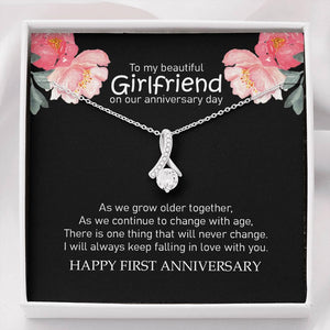 1 Year Anniversary Gift Necklace, Christmas Gift for Girlfriend, Funny 1st Anniversary Gift Message Card, Anniversary Necklace, Gift for Her - Vnamus