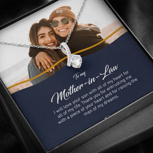 Personalized Mother in Law Photo Gift, Mother in Law Gift Wedding Day, Mother in Law Necklace from Daughter in Law 14k White Gold Jewelry