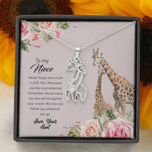 To My Niece, Straighten Your Crown Giraffe Necklace | Gift for Niece, Niece Jewelry, Niece Confirmation, Niece Birthday Gift ideas - Vnamus