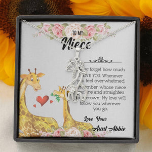 To My Niece Never Forget How Much I Love You Giraffe Necklace - Aunt Neice Necklace, Niece Birthday Gift, Christmas Gift - Vnamus