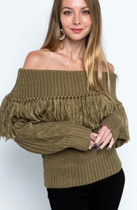 Angela  - Cold Shoulder Fringed Sweater