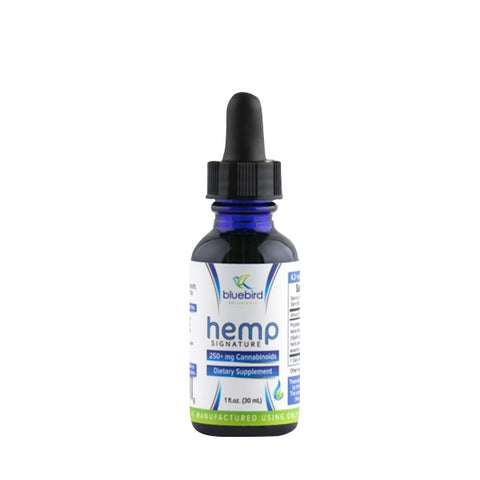 Bluebird Botanicals Hemp Signature 6x 1,500+ mg cannabinoids per ounce. 1OZ Classic blend with frankincense & black seed oil.