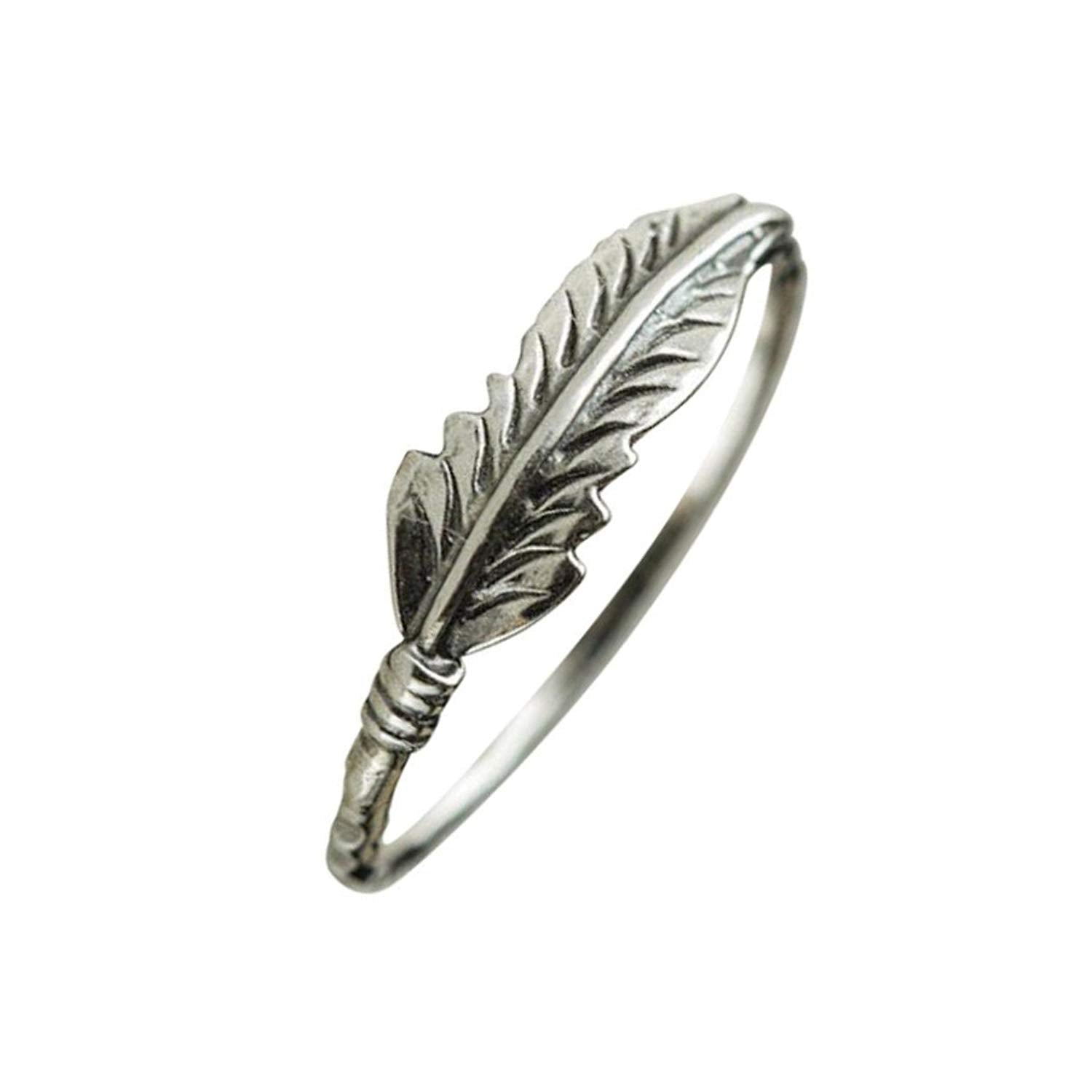 b2a3ce15e Lethez Clearance Solid Sterling Silver Feather Band Ring New Creative Engagement  Wedding Jewelry