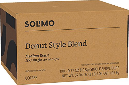 Amazon Brand - 100 Ct  Solimo Medium Roast Coffee Pods, Donut Style,  Compatible with 2 0 K-Cup Brewers