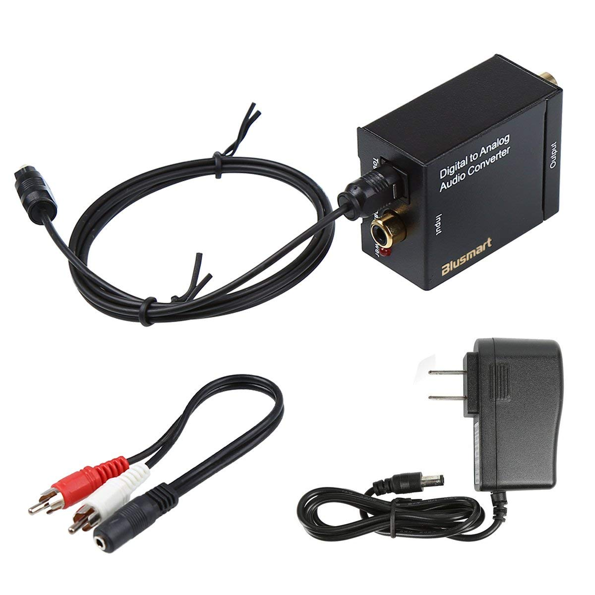 Blusmart Digital Optical Coax to Analog RCA Audio Converter Adapter with  3 28ft Optical Toslink Cable and 3 5mm Stereo Y Cable Splitter RCA L/R  Output