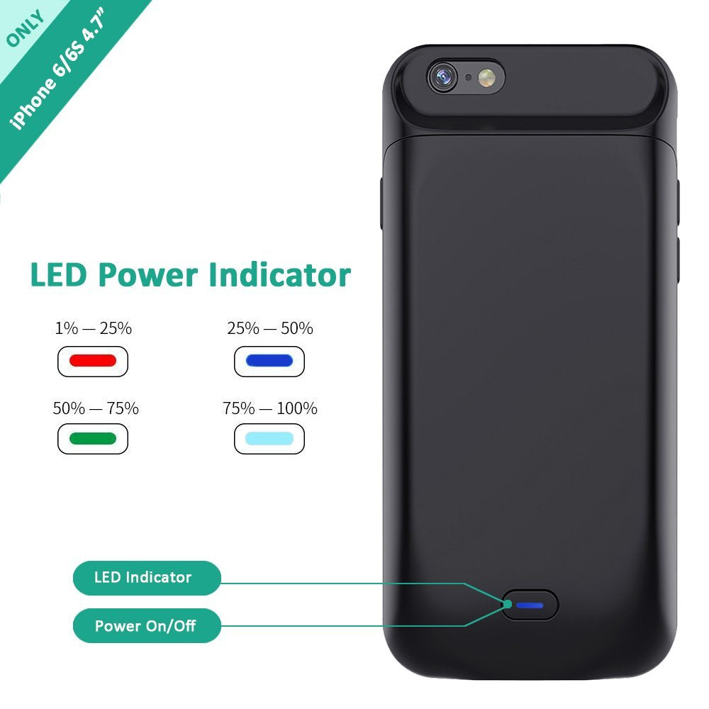 size 40 3acd6 7fbc6 iPhone 6s/6 Battery Case, Stoon 5000mAh Portable Charger Case Rechargeable  Extended Battery Pack Protective Backup Charging Case Cover for Apple iPhon