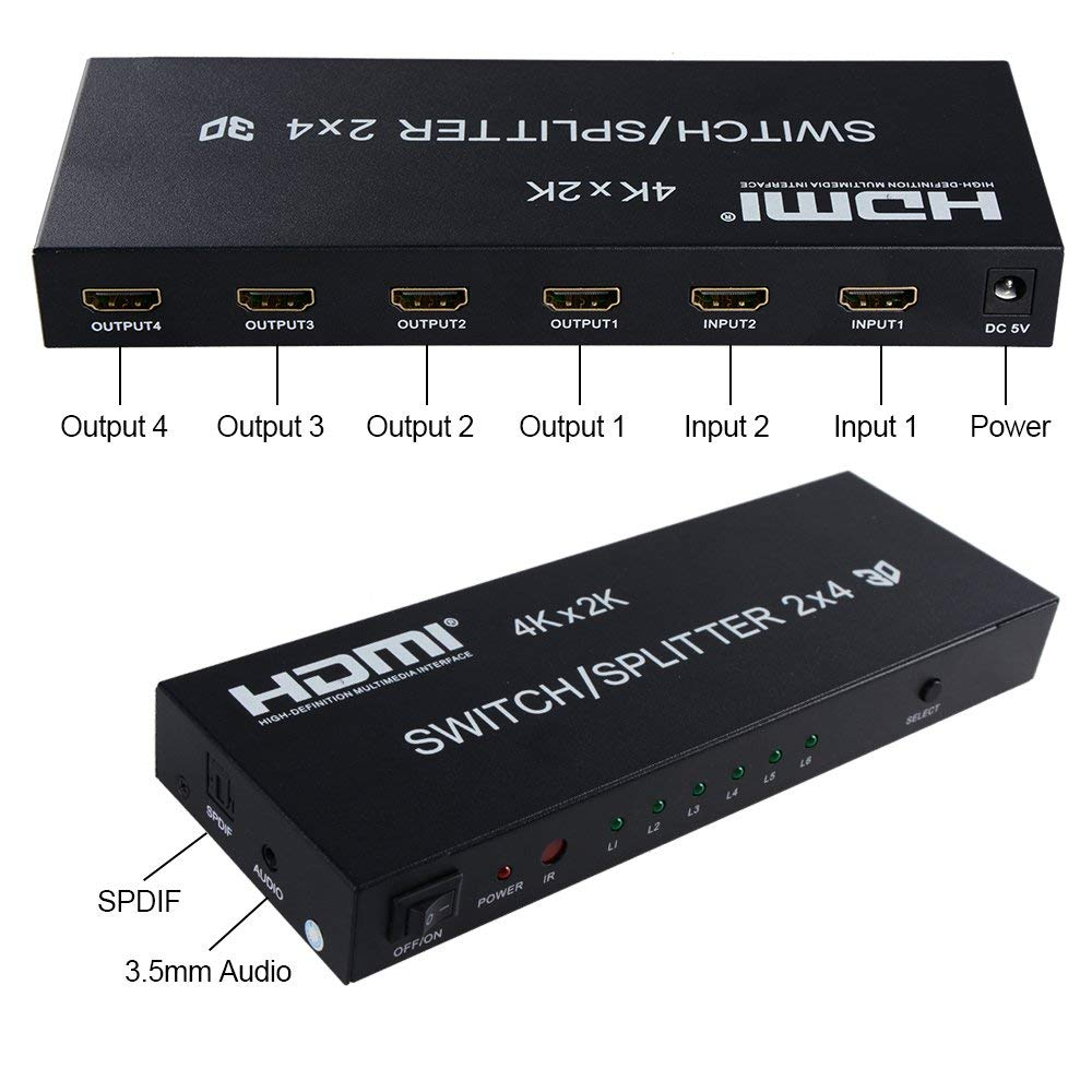 Bluesky 2x4 HDMI Switcher Splitter Amplifier 2 In 4 Out HDMI 4Kx2K Ultra HD  1080P, 3D Audio Video Selector with SPDIF Audio 3 5mm, with IR Remote for