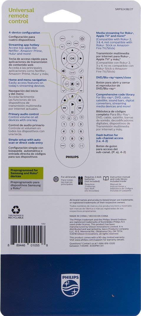 Philips 4-Device Universal Remote Control, Brushed Black Finish, Sound Bar  and Streaming Player Compatible, Preprogrammed for Samsung and Roku