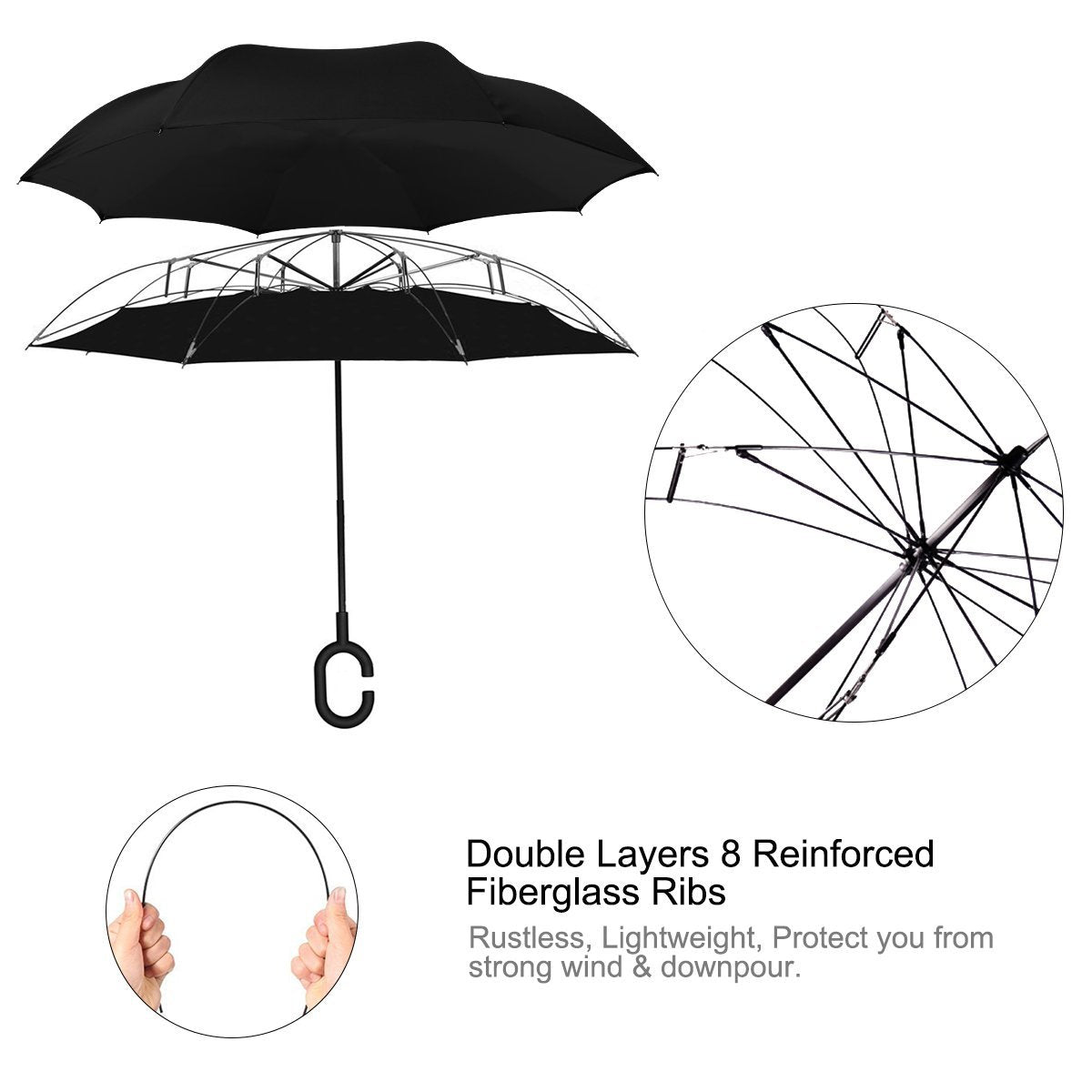 bc04b0448 G4Free Double Layer Inverted Umbrella Cars Reverse Open Folding Umbrellas,  Windproof UV Protection Large Upside Down Straight Umbrella for Car Rain  With ...