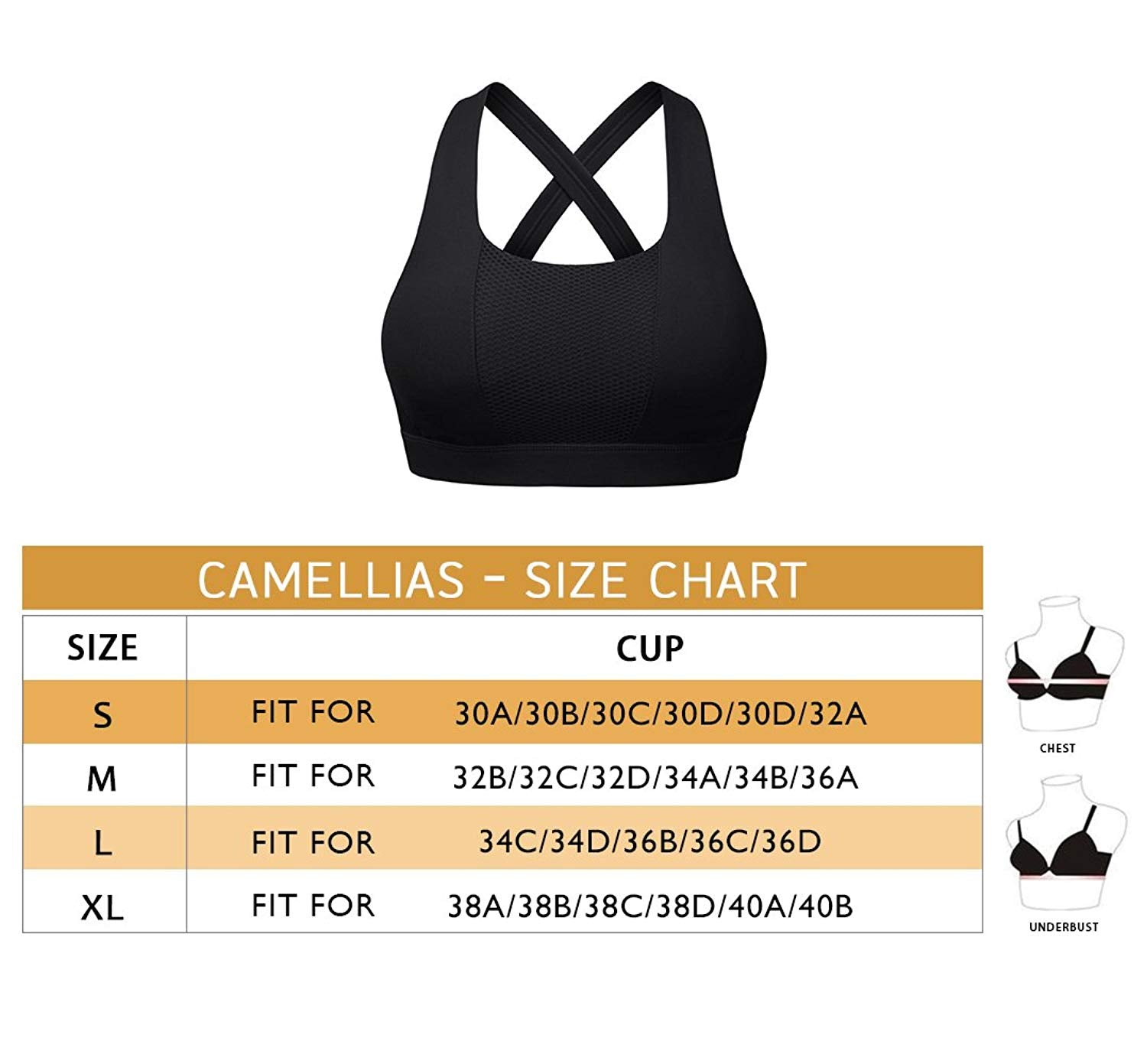 66c1085b5c Camellias Womens Sports Bra Padded Breathable High Impact Support Criss  Cross Back Yoga Gym Bras