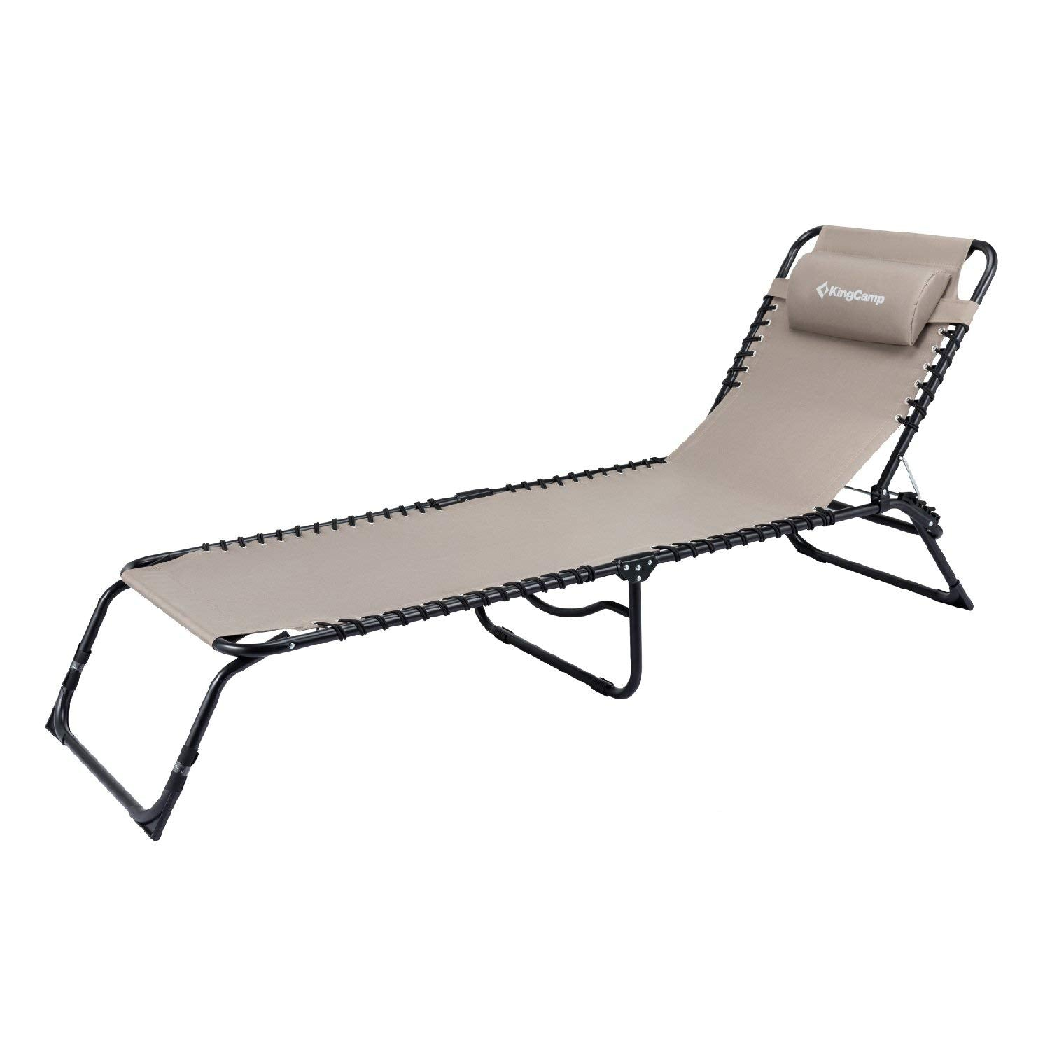 8e5b05823112 KingCamp Patio Lounge Chair 3 Reclining Positions Steel Frame 600D Oxford  Folding Camping Cot Chaise Bed with Removable Pillow for Camping Yard Beach  ...