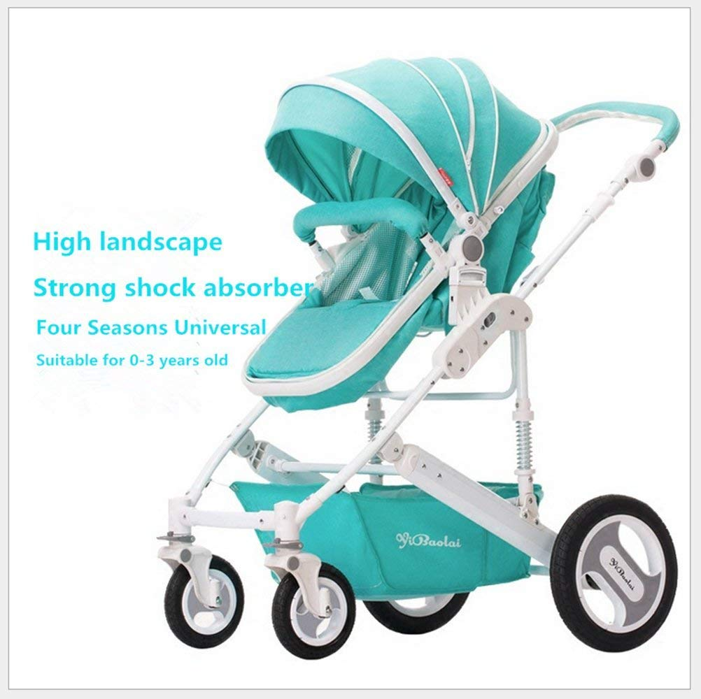 Four Wheels Stroller Baby Stroller Reclining Lightweight Folding Shock Baby Stroller Absorbering Portable Two-way Push Cart For Four Seasons Use Travel For Kids Highly Polished