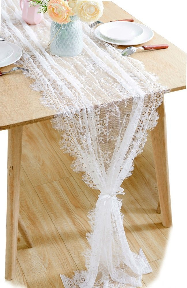 Boxan 30x120 Inch White Classy Lace Table Runner Overlay