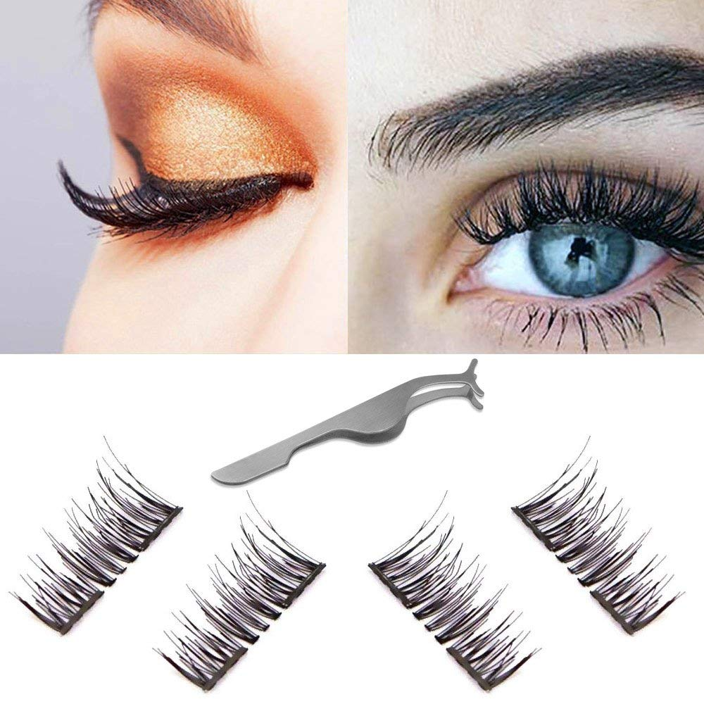 1547e01a922 Dual Magnetic Eyelashes 3D Wispy False Lashes Natural Reusable Fake Eyelash  Extensions-Ultra Thin Handmade Irritation Free Length:12MM CC Curl 1Pair(4  ...